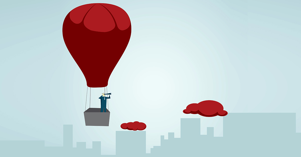 graphic of man in balloon with telescope over cityscape